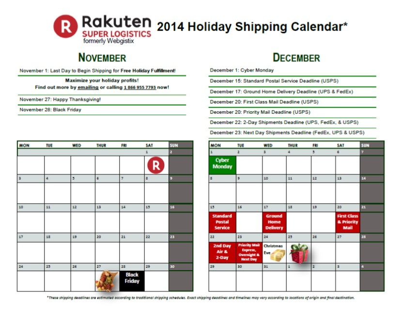 Rakuten Super Logistics Holiday Shipping Calendar