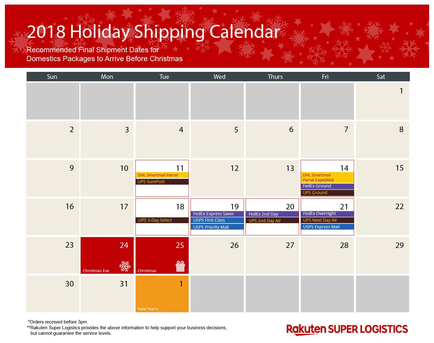 2018 Holiday Shipping Calendar RSL