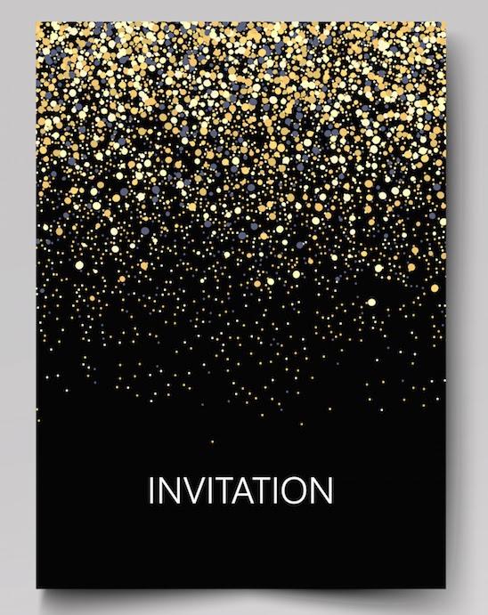 Confetti covered gala invitation template