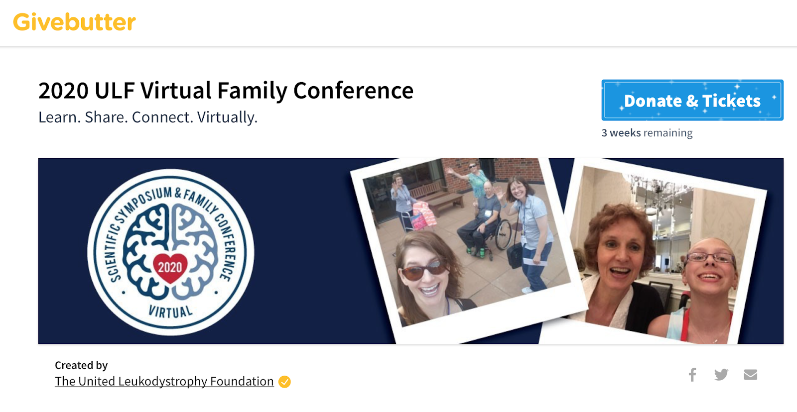 Givebutter event page for ULF Virtual Family Conferece