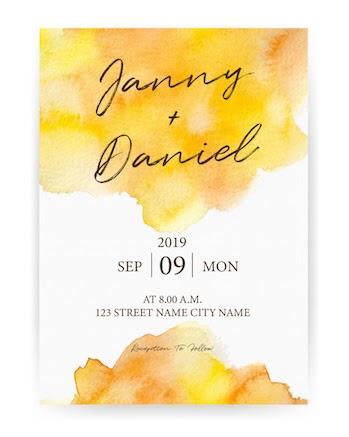 gala invitation: Wedding invitation with a watercolor design