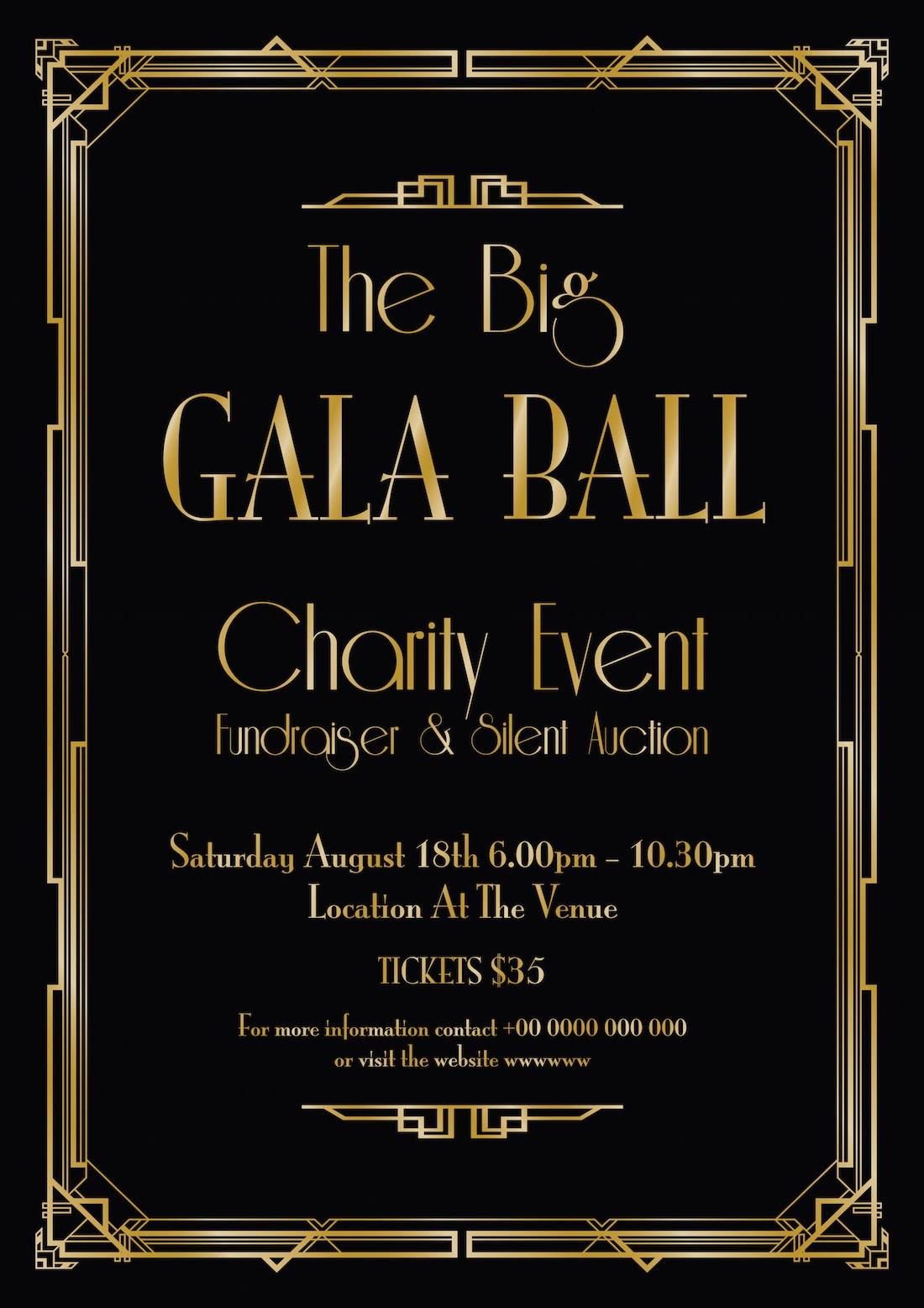 Black and gold art deco gala invitation template
