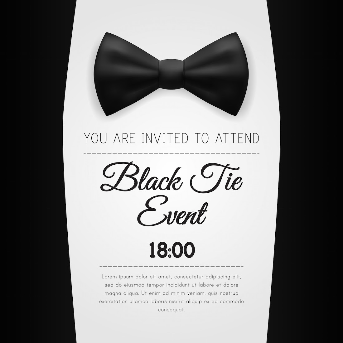 Black tie gala invitation template