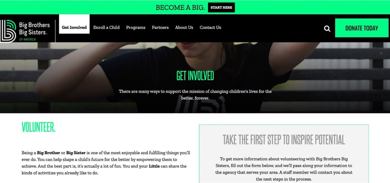 Nonprofit web design: Big Brothers Big Sisters