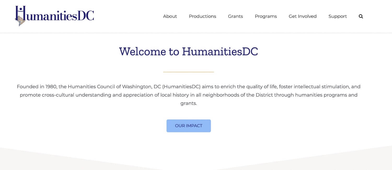 Nonprofit web design: HumanitiesDC