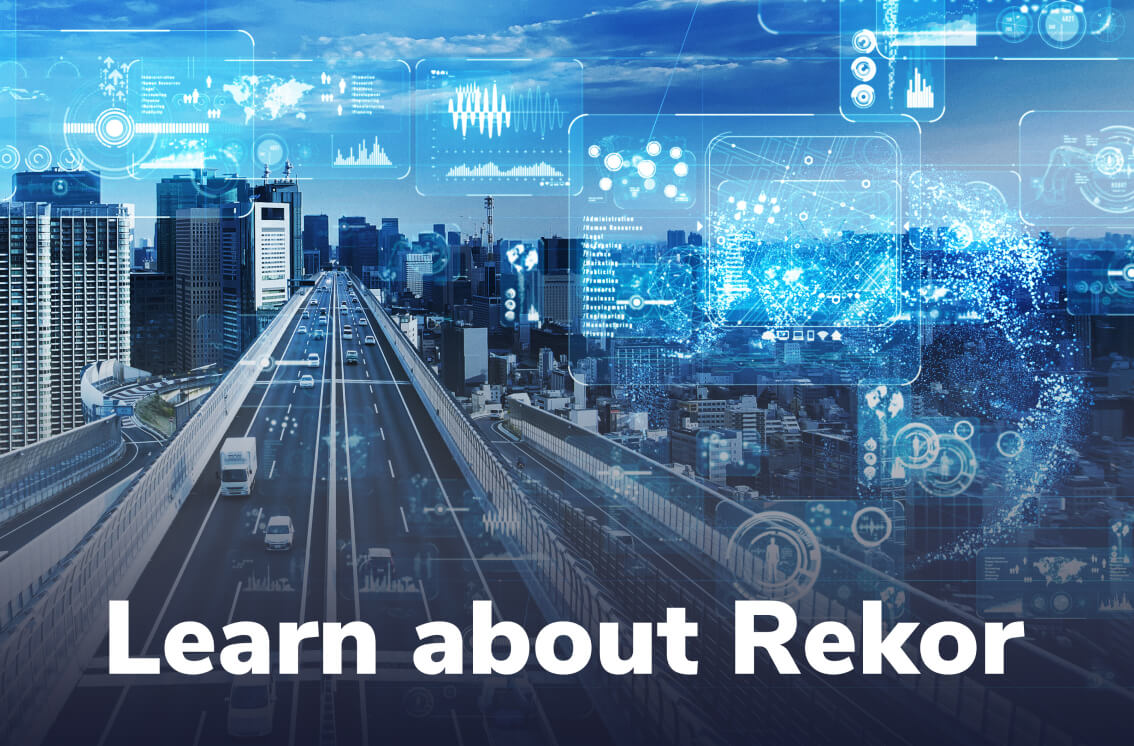 Smart city roadway with big data and Learn About Rekor text