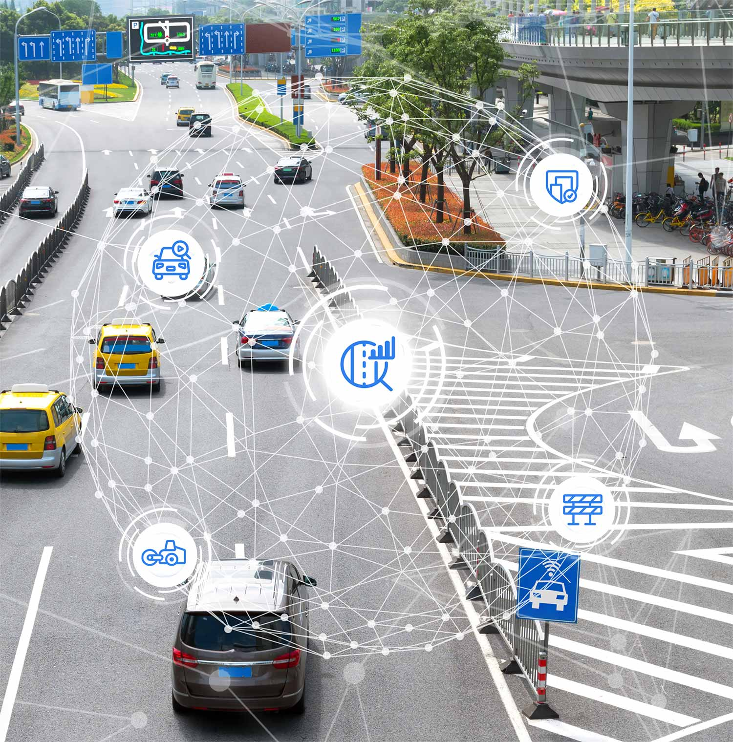 Intelligent road with globe and icons for smart city