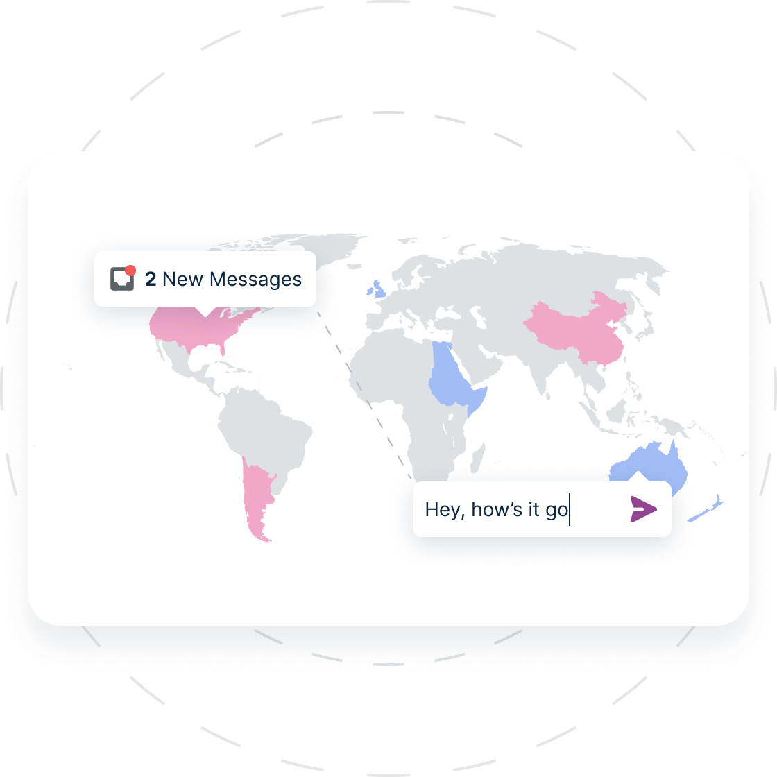 A world map with a few popular locations highlighted to show the diverse range of patients across the globe. There is also a message notification in the US, and a message field with someone typing in Australia. This shows how interconnected the platform is.