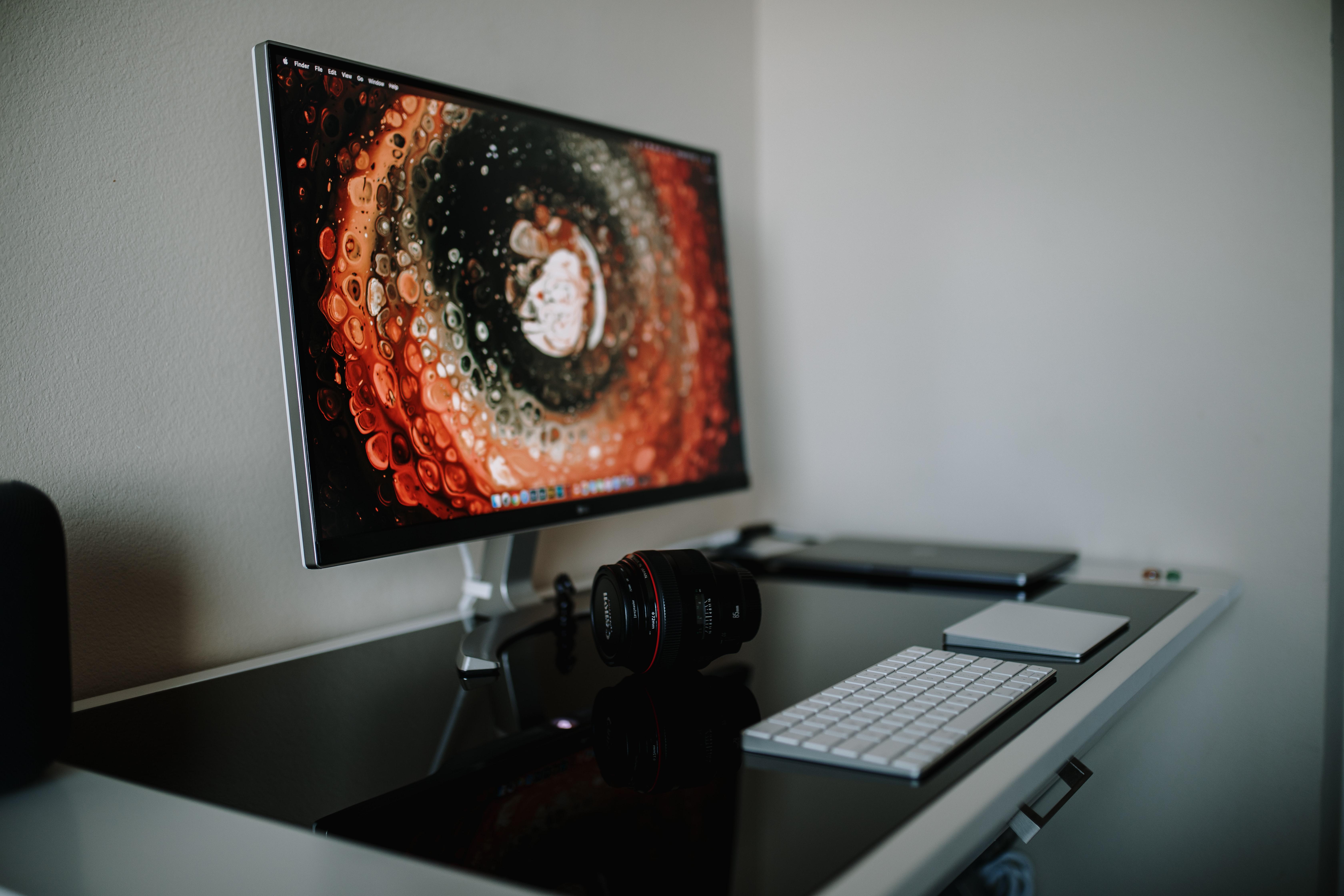 Desktop with computer display