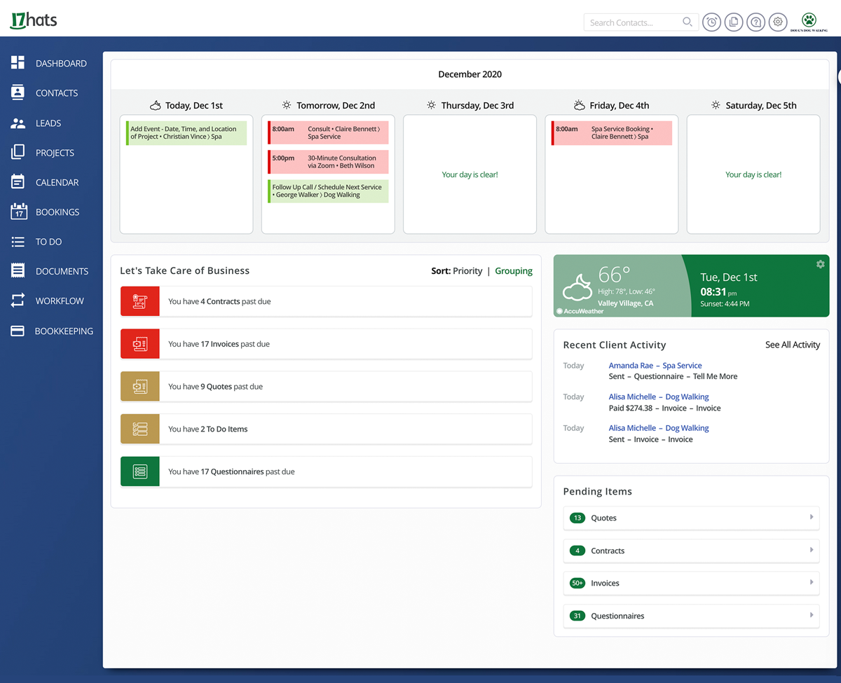 17hats Dashboard For Free CRM