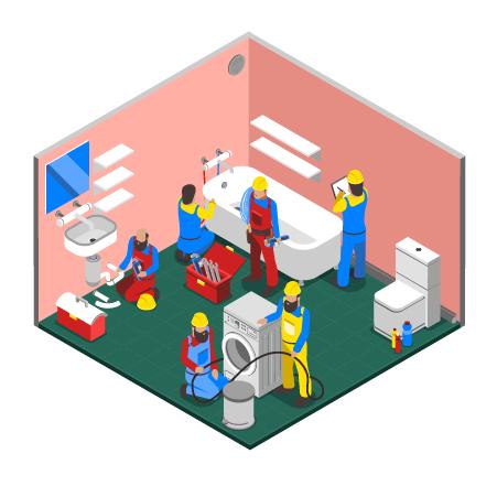 Illustration d'une salle de bain en chantier avec ouvriers
