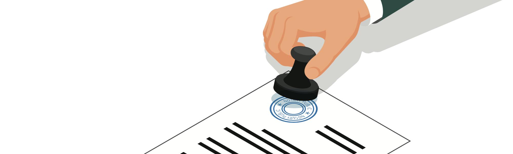 Main d'un notaire en train d'appliquer son sceau à un contrat locatif