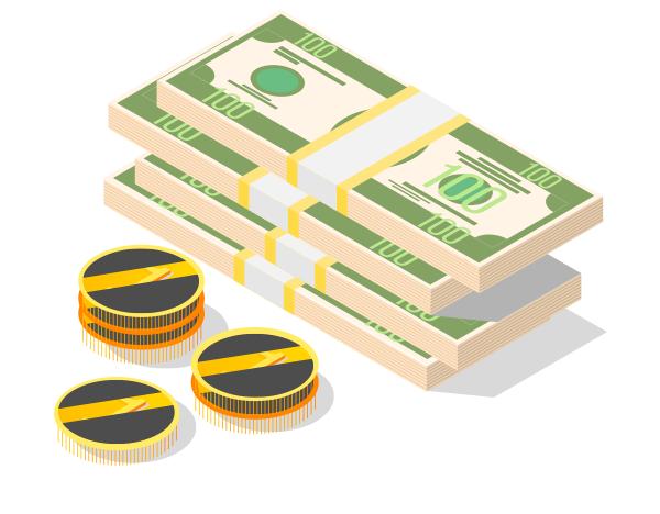 Illustration de liasses de billets avec pièces de monnaie