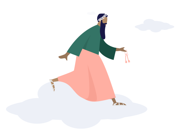 Dieu Masteos sur un nuage