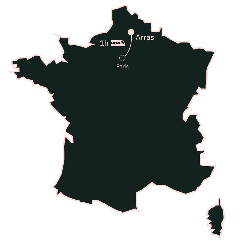Carte distance Paris Arras