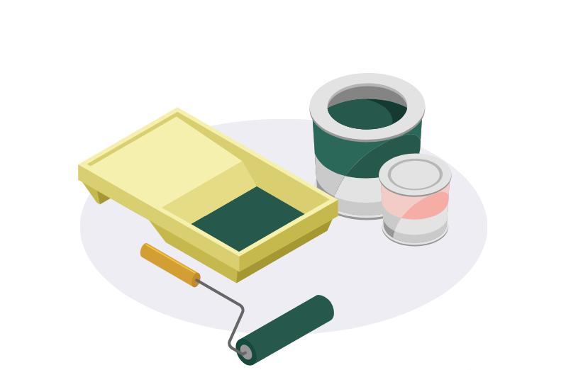 illustration de peinture avec rouleau et pots