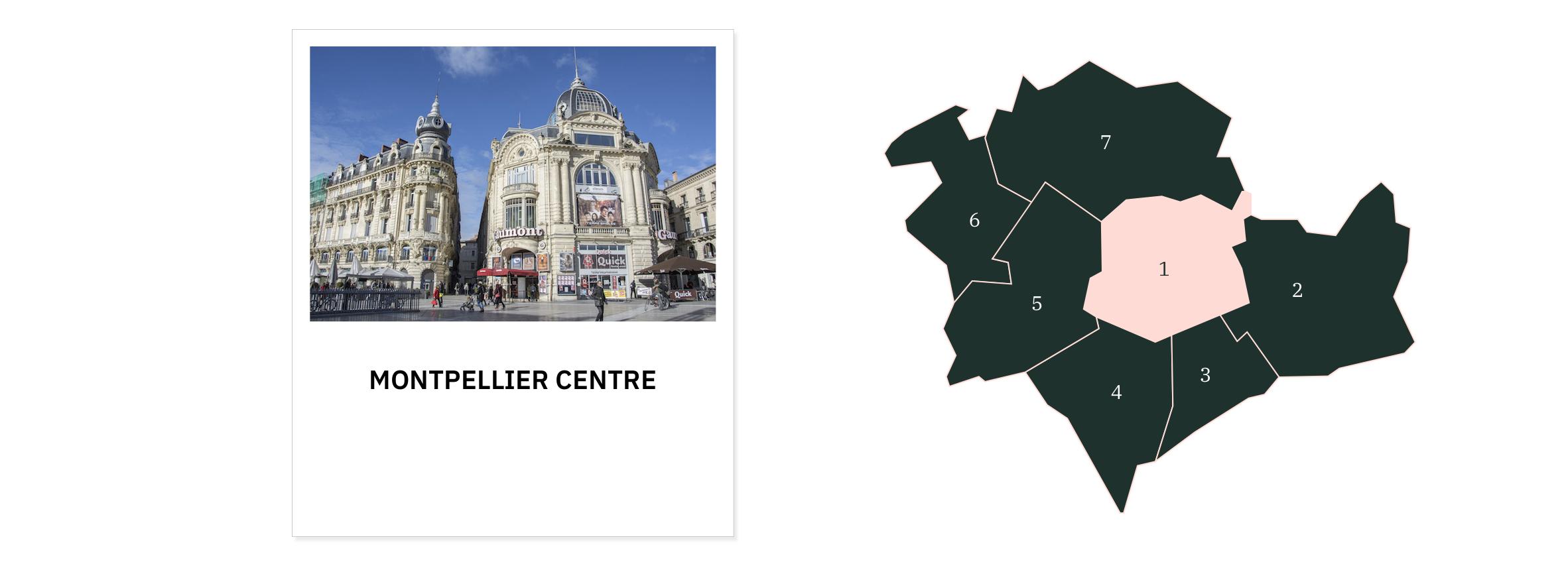 Montpellier centre ⎮ Carte des quartiers de Montpellier