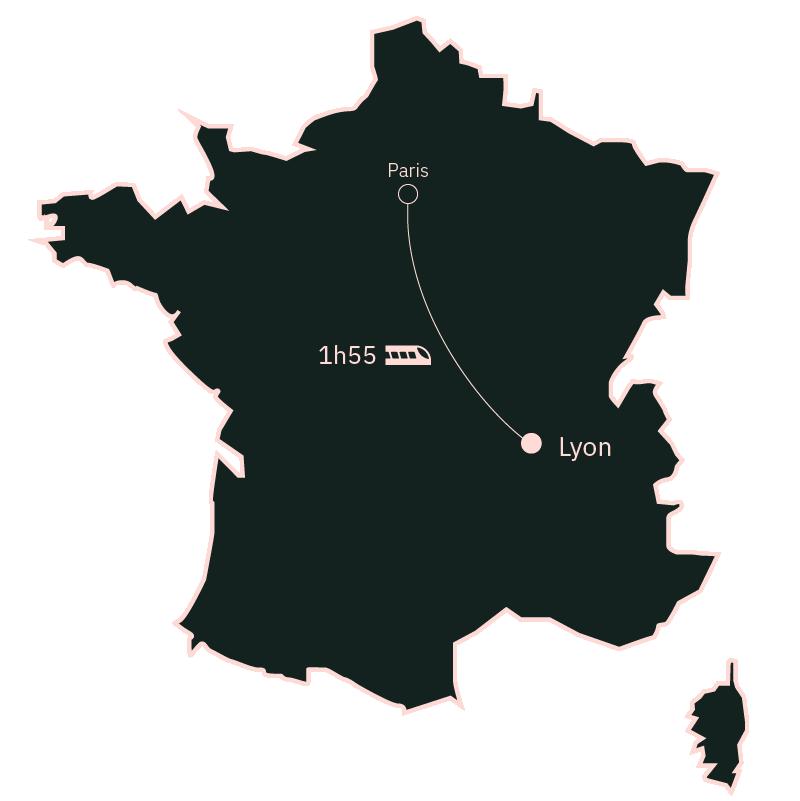 Carte distance Paris Lyon