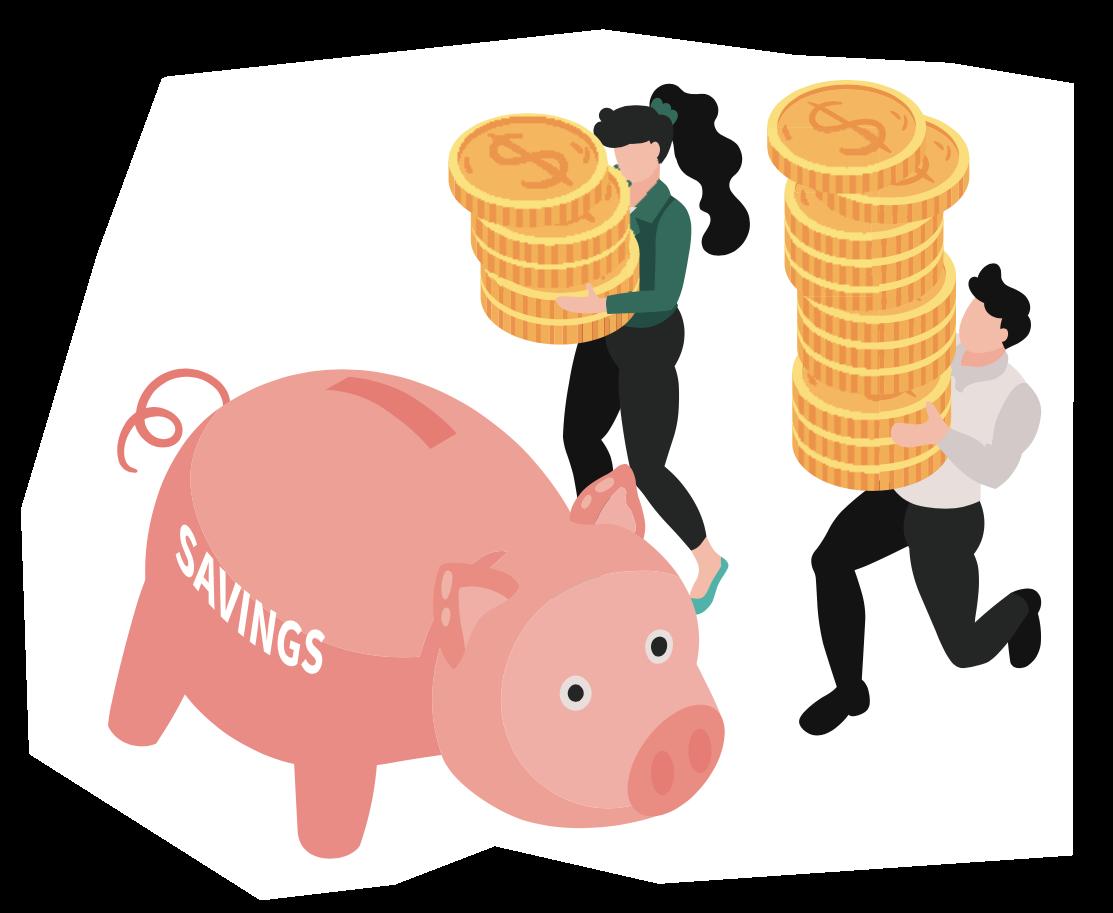 Illustration de personnages épargnant de l'argent