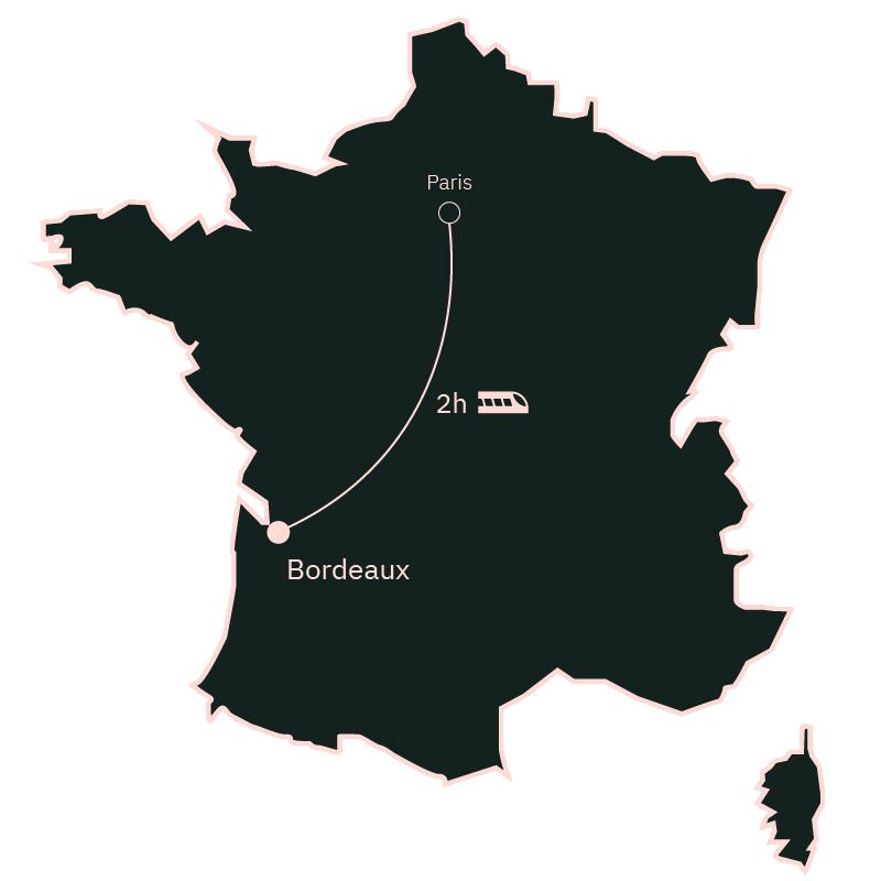 Carte distance Paris Bordeaux
