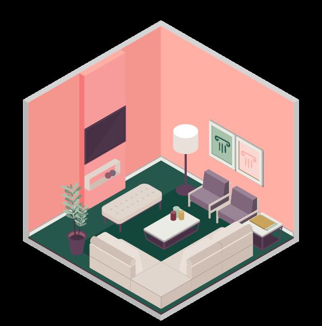 Illustration d'un appartement décoré