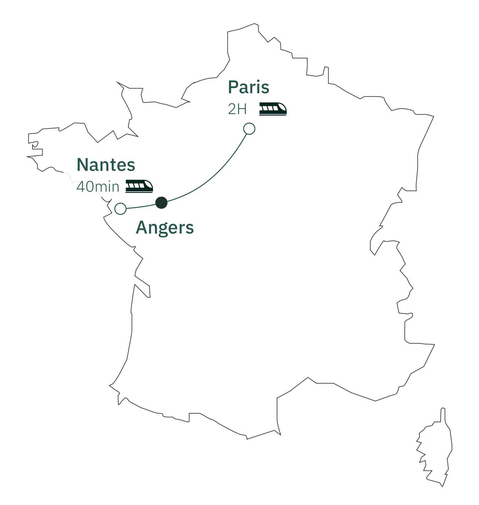 Carte distance Paris Angers
