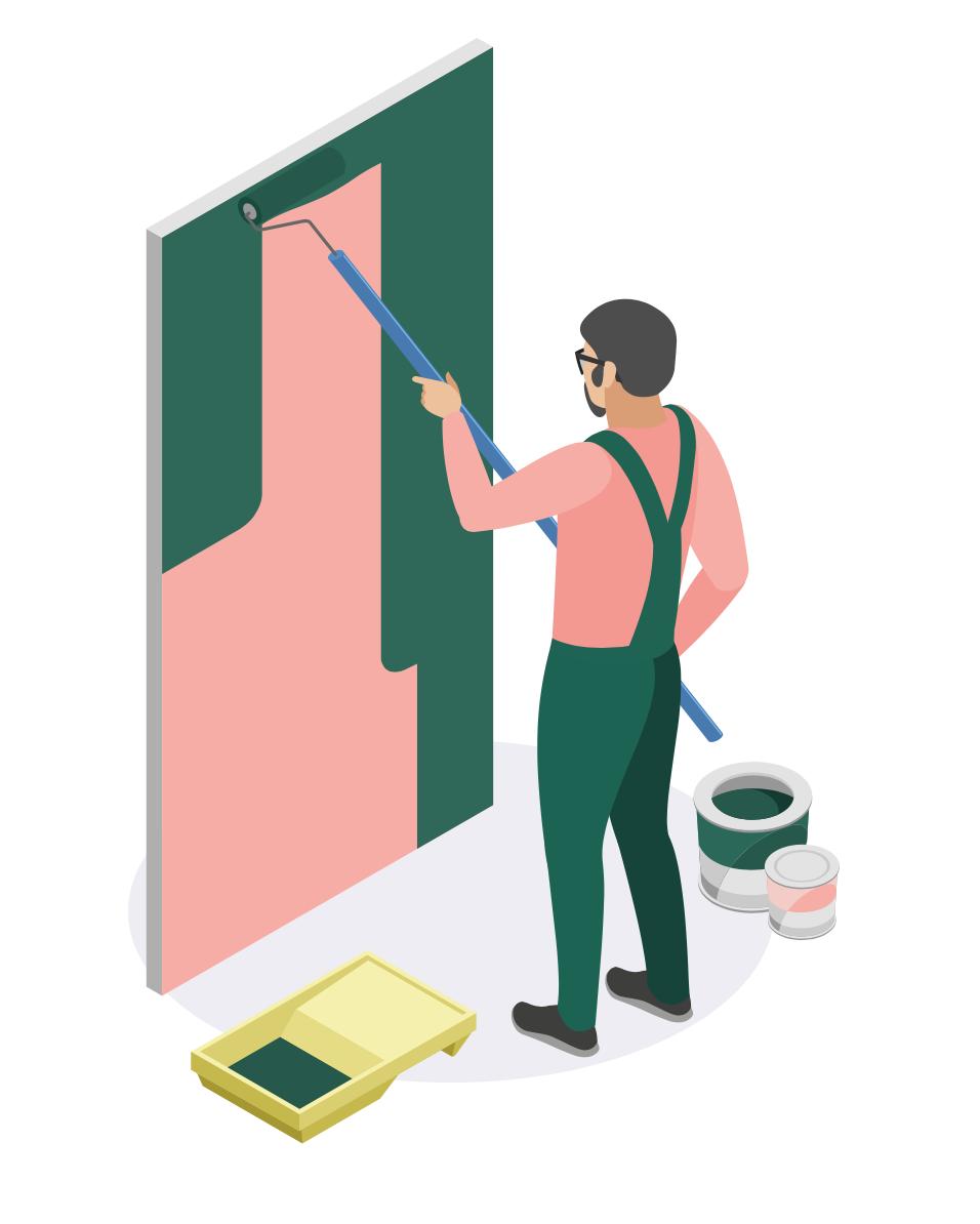 Illustration d'un personnage peignant un mur