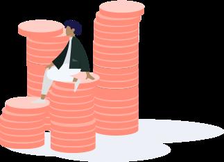 Investisseur sur une pile d'argent