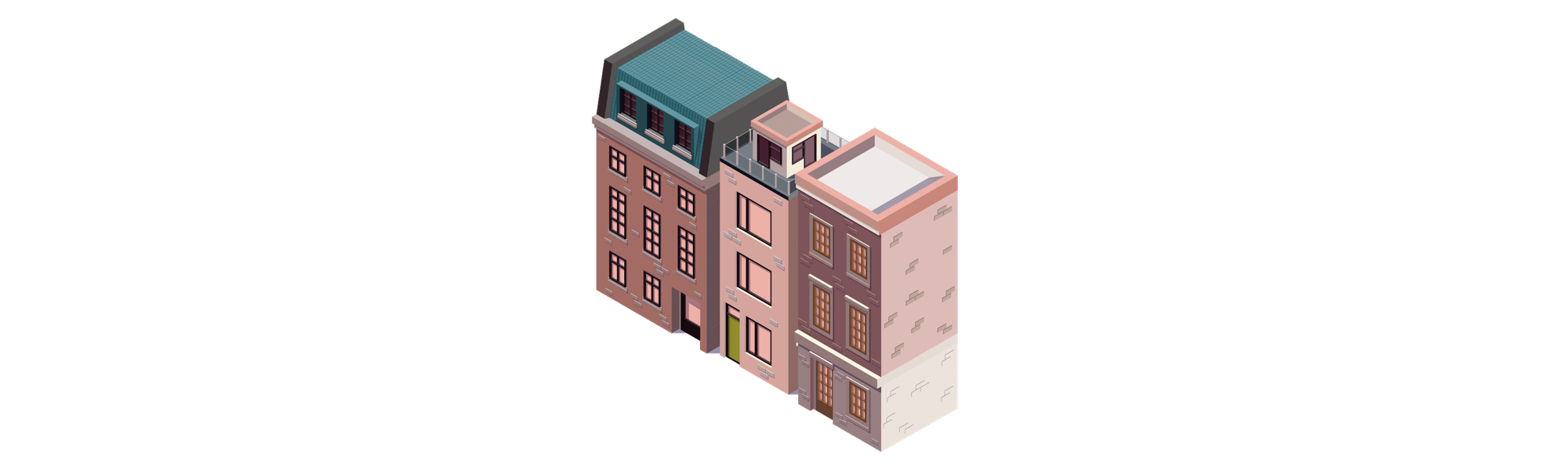 Trois immeubles mitoyens faisant partie du Plan Local d'Urbanisme qu'il faut étudier pour un investissement immobilier