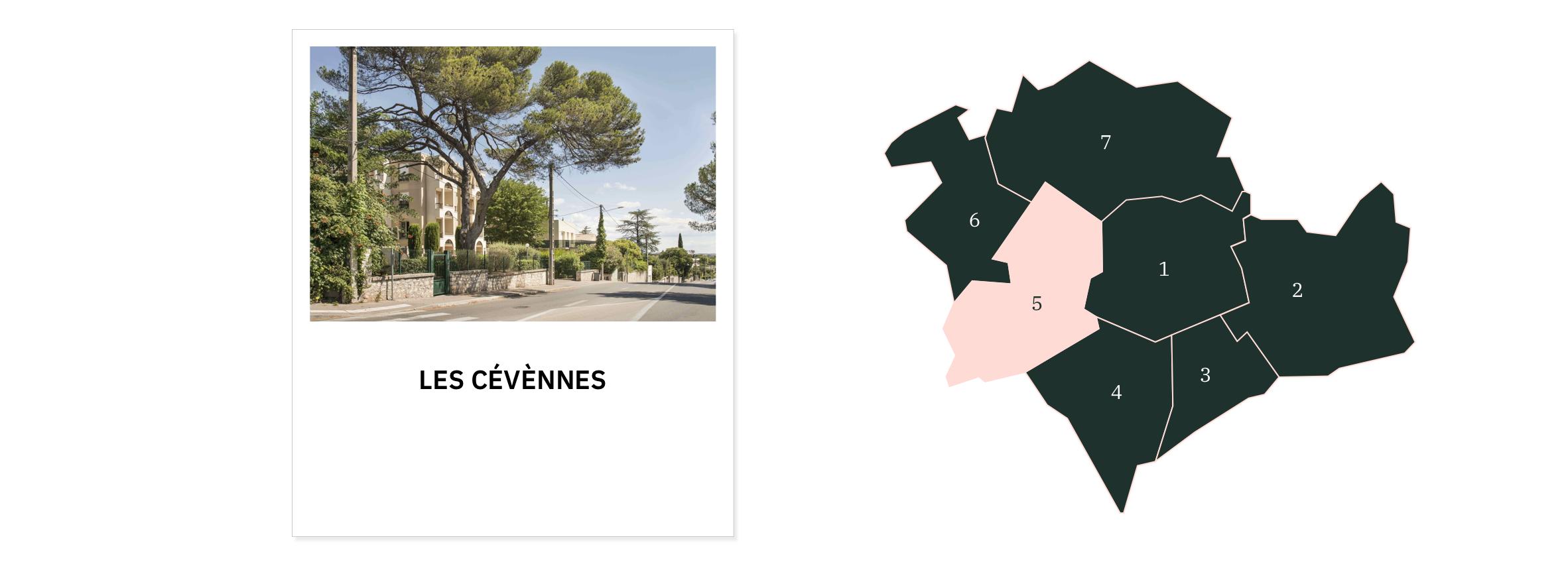 Les Cévènnes ⎮ Carte des quartiers de Montpellier