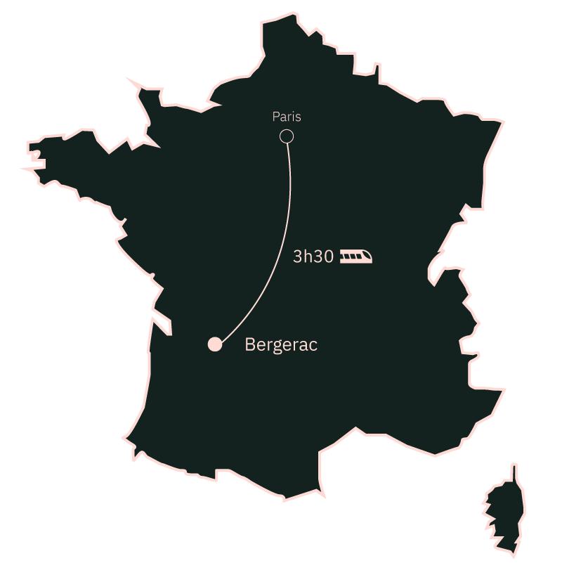 Carte distance Paris Bergerac