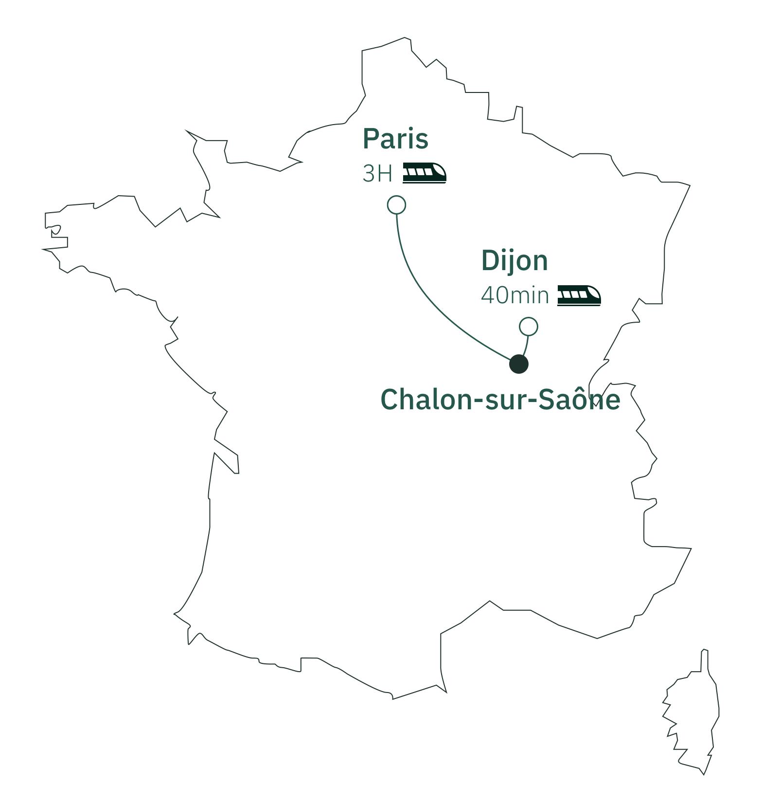 Carte distance Paris Chalon-sur-Saône