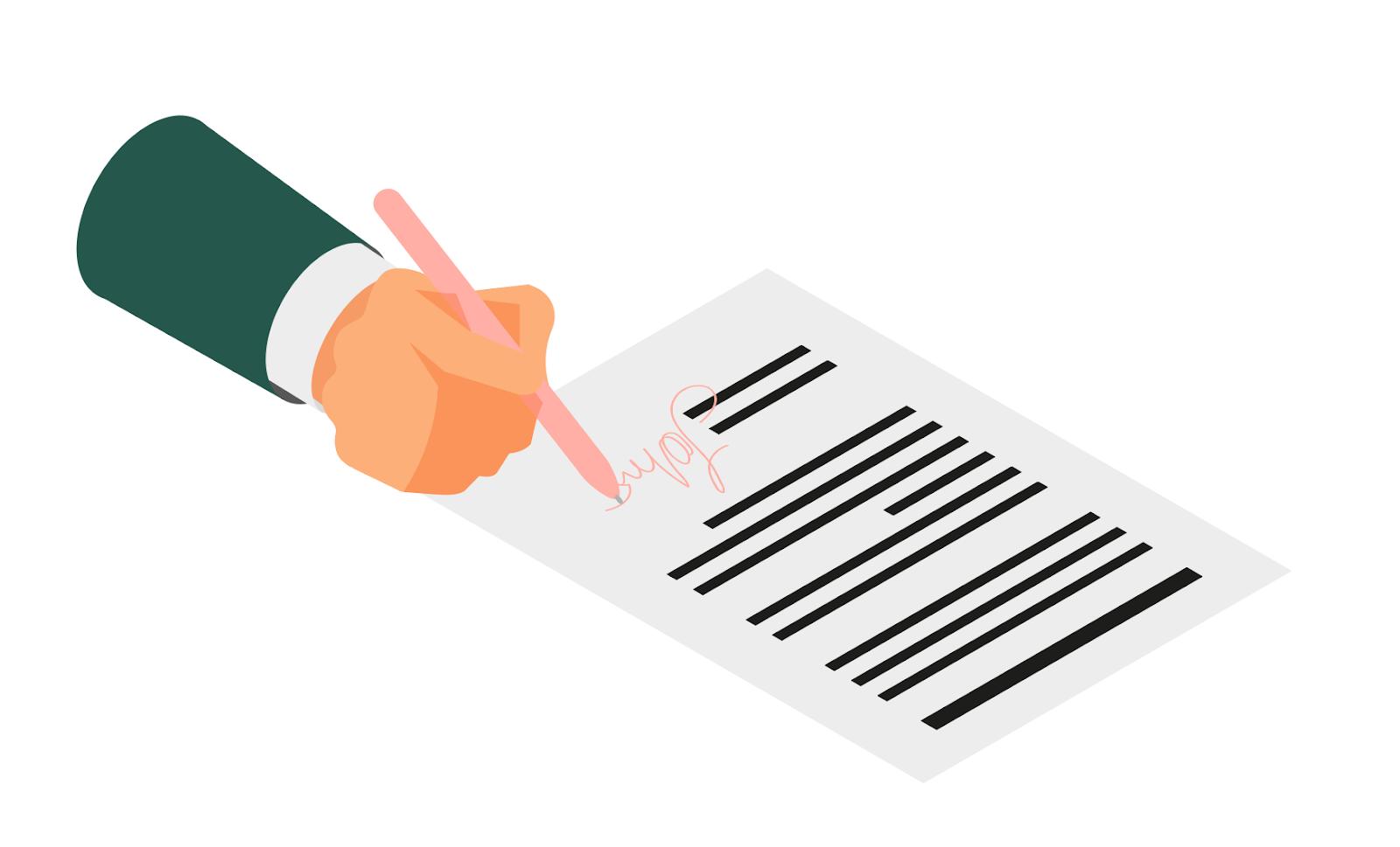 Illustration d'une main signant un contrat