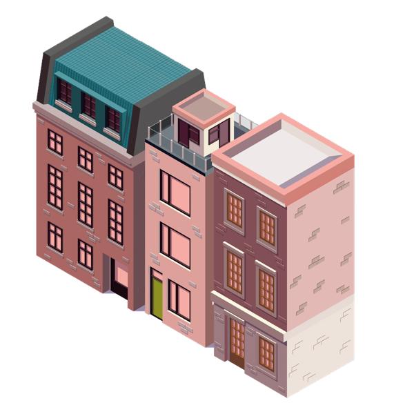 Illustration de trois immeubles mitoyens