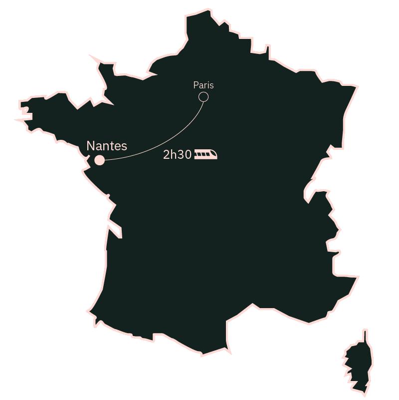 Carte distance Paris Nantes