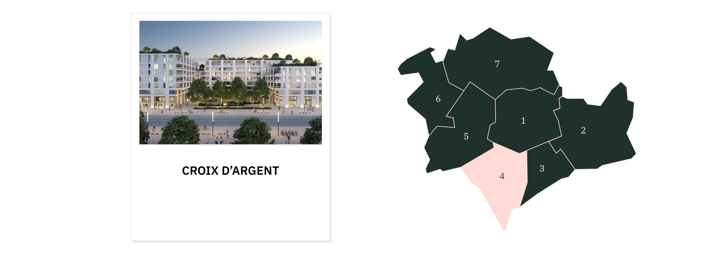 Croix d'argent ⎮ Carte des quartiers de Montpellier