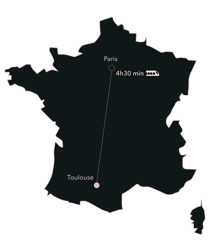 Carte distance Paris Toulouse