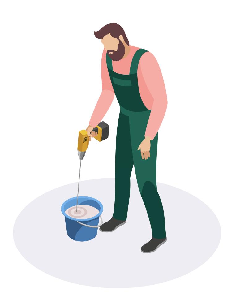 Illustration d'un personnage qui mélange de la peinture