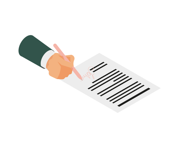Main qui signe un document