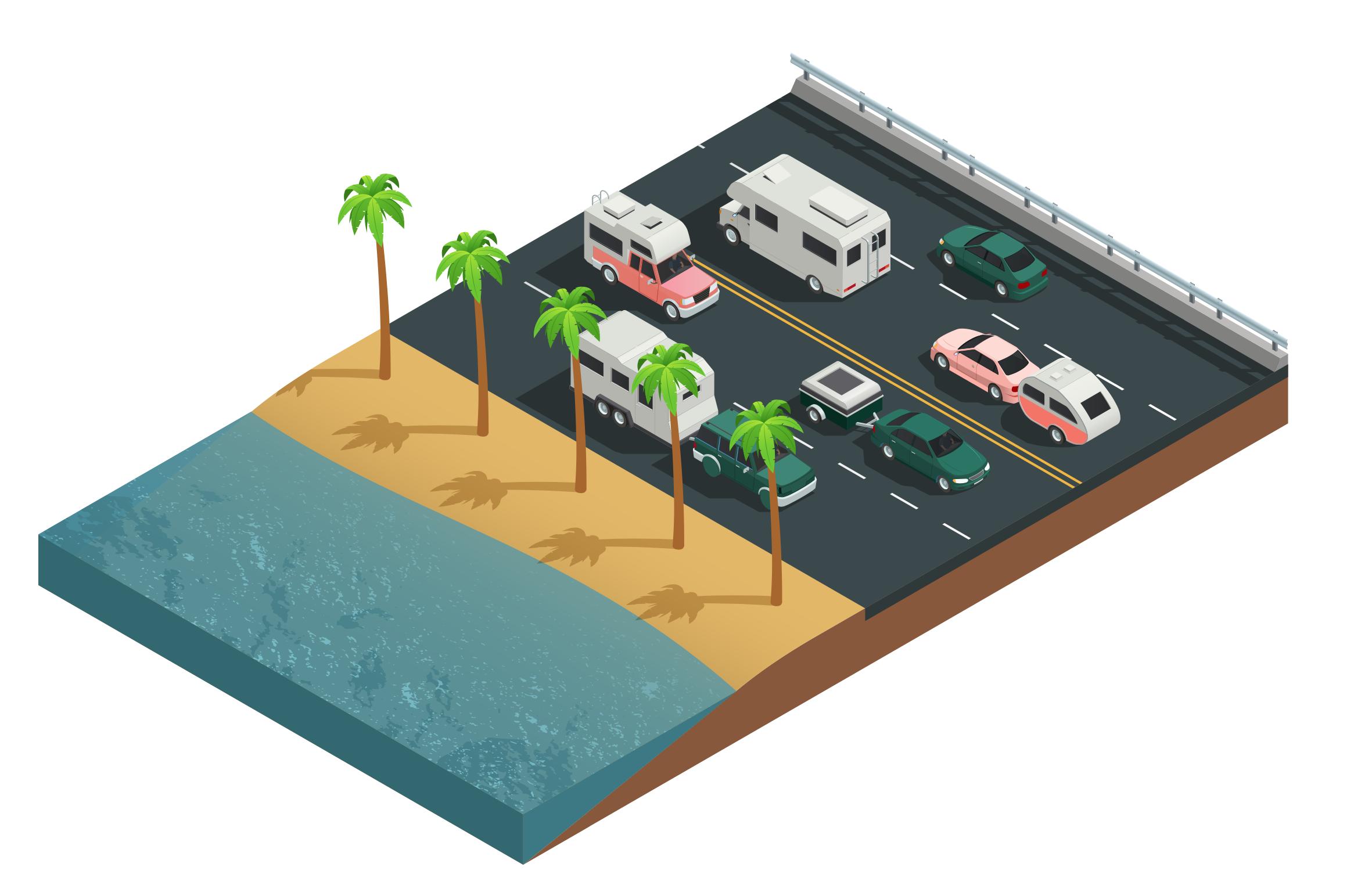 Illustration de voitures sur une route côtière