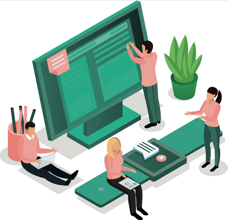 Illustration d'un écran d'ordinateur avec personnages