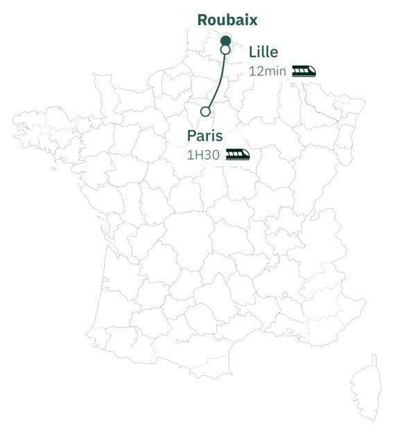 Carte distance Paris Roubaix