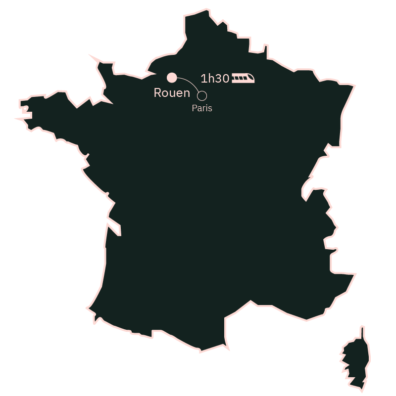 Carte distance Paris Rouen