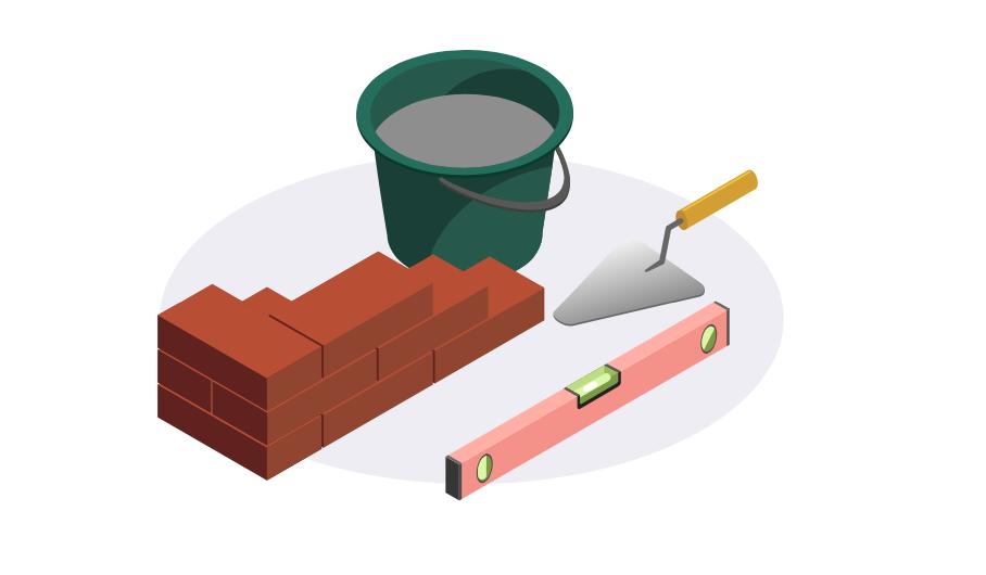 illustration de ciment avec briques rouges