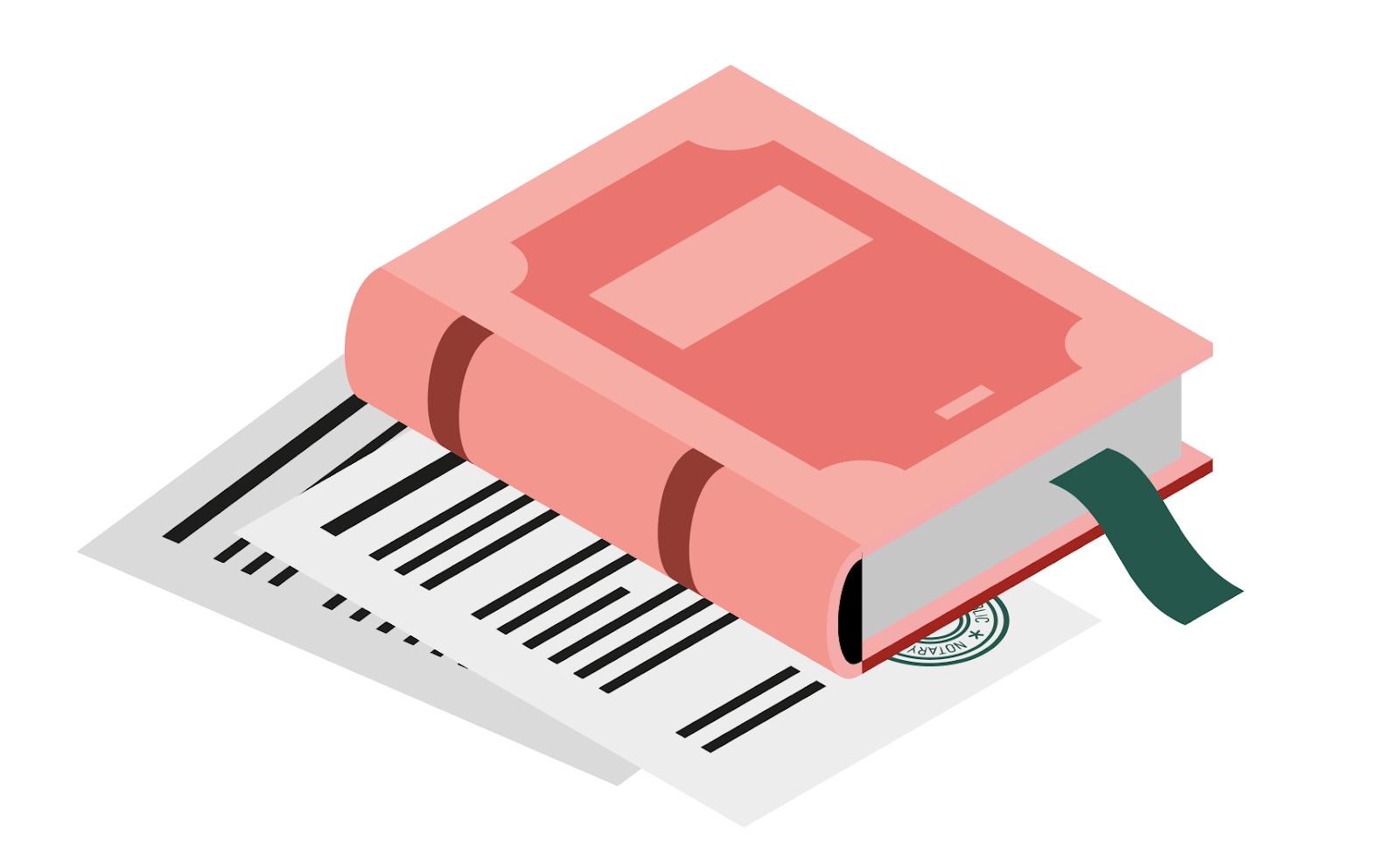 Illustration d'un livre avec signets cachetés