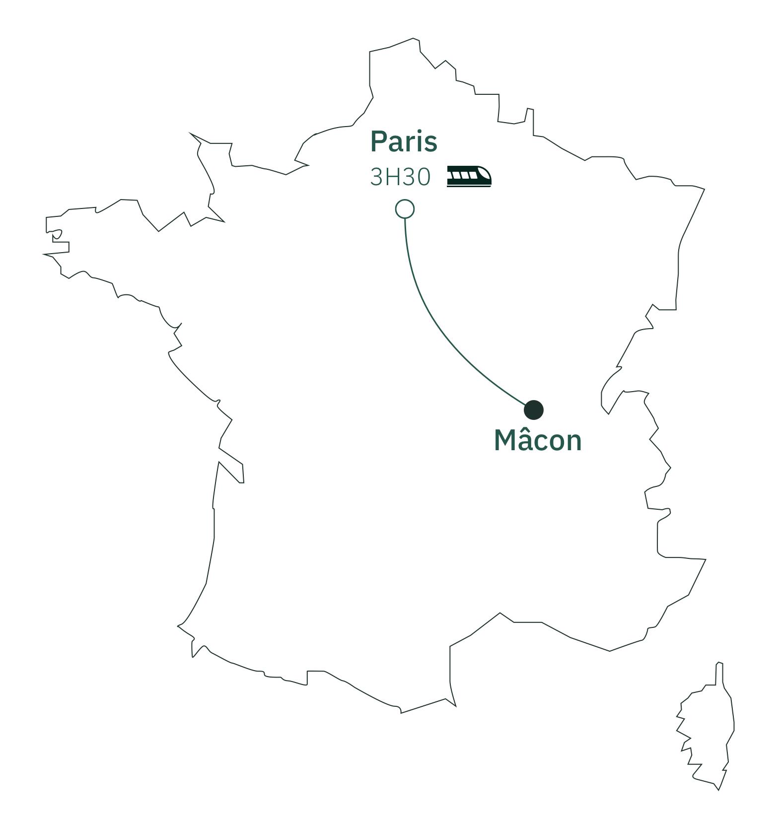 Carte distance Paris Mâcon