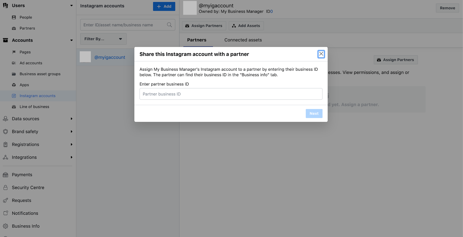 Assigning brand partner access in Facebook Business Manager