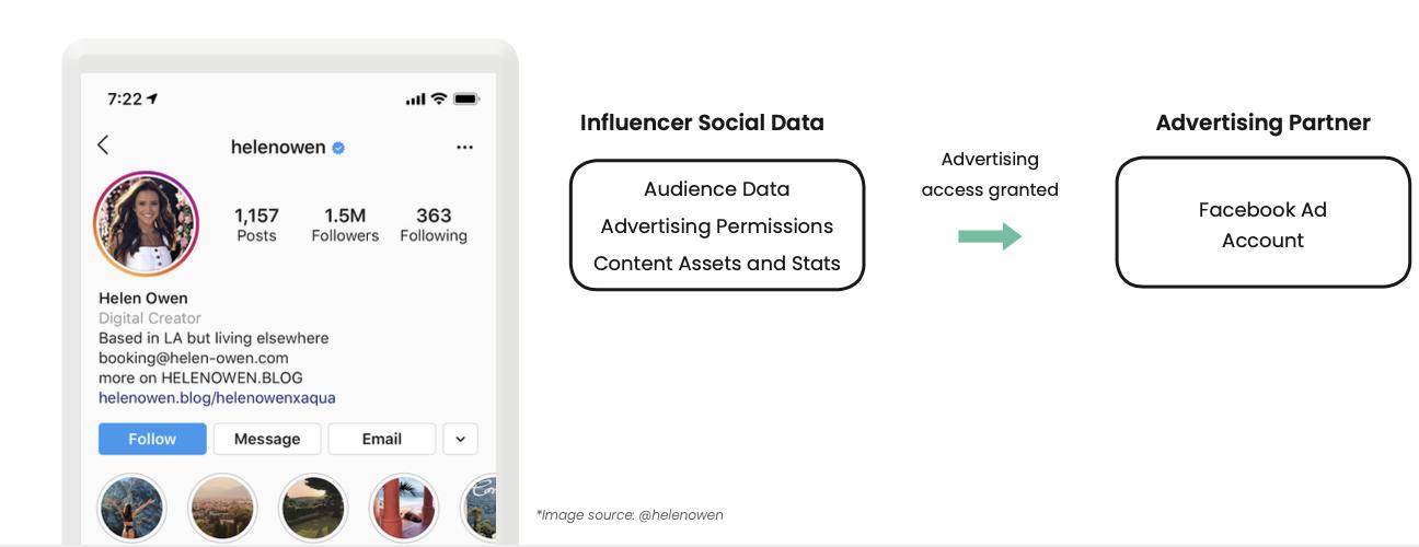 Influencer Whitelisting Advertising access