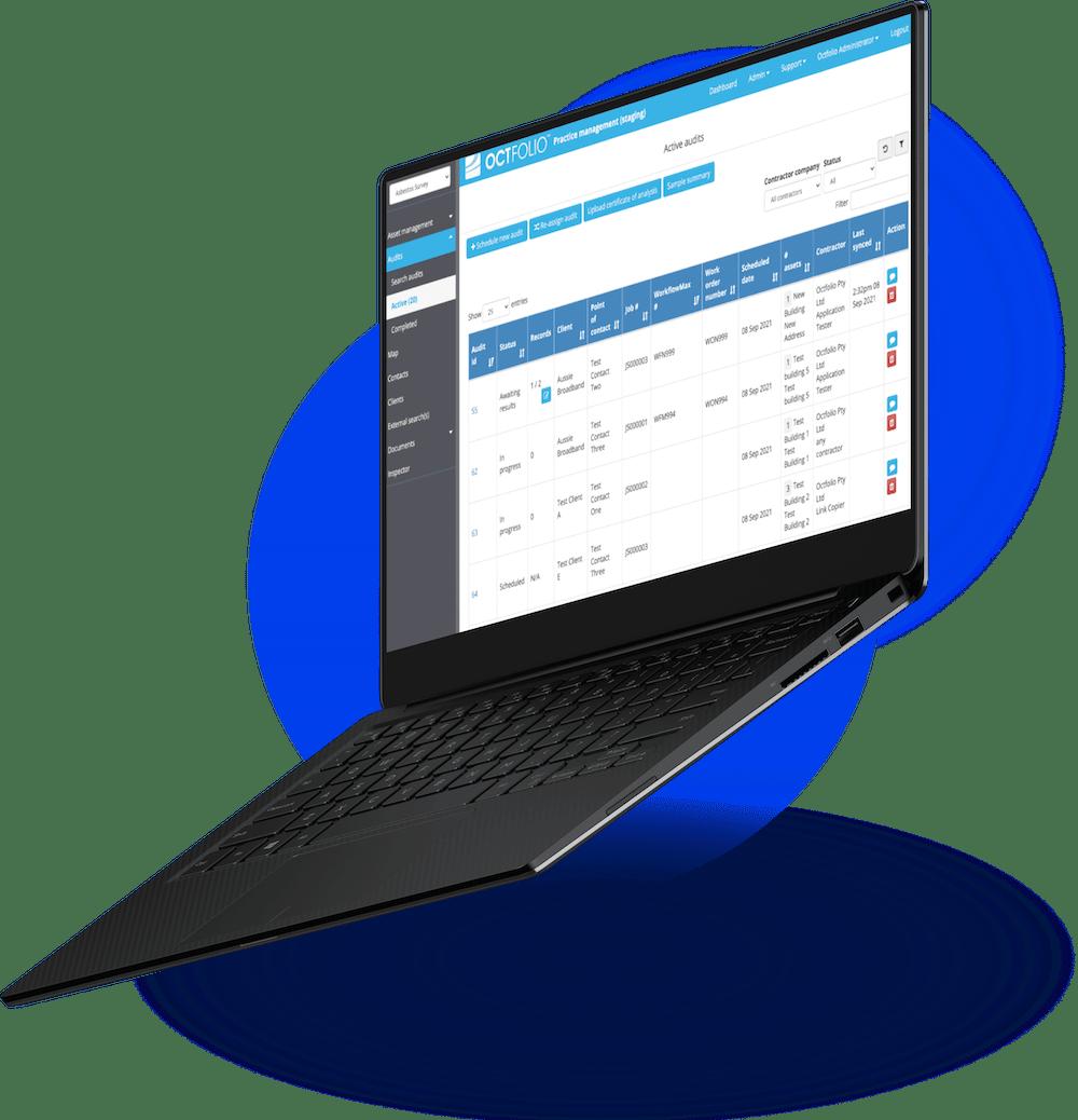 Octfolio UI in Laptop