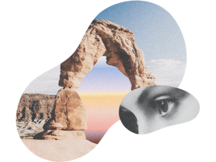 Collage of a desert scene and a face